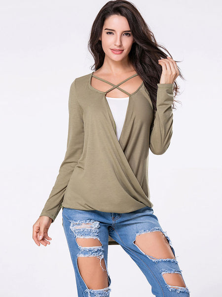 Surplice Plain High-Low Long Sleeve T-Shirt - Bychicstyle.com