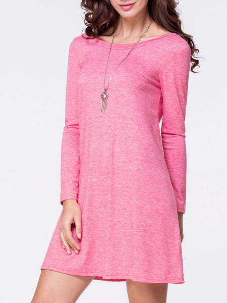 Boat Neck Plain Long Sleeve Shift Dress - Bychicstyle.com