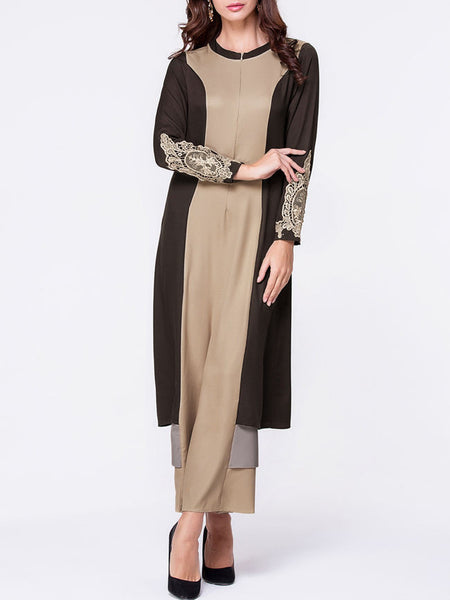 Crew Neck Decorative Lace Color Block Maxi Dress - Bychicstyle.com