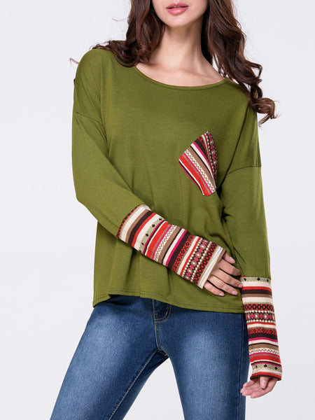 Round Neck Patch Pocket Printed Long Sleeve T-Shirt - Bychicstyle.com