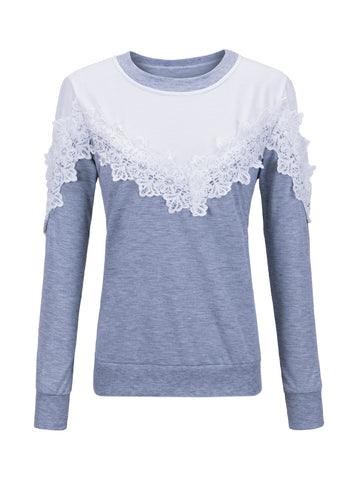 Casual Round Neck Decorative Lace Color Block Sweatshirt