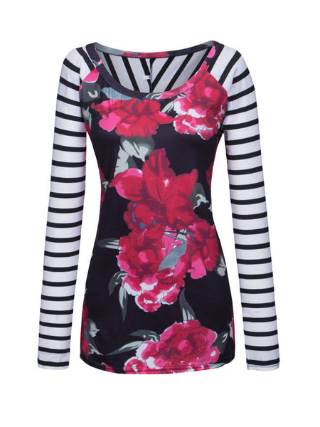 Round Neck Floral Striped Long Sleeve T-Shirt - Bychicstyle.com