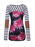 ByChicStyle Round Neck Floral Striped Long Sleeve T-Shirt - Bychicstyle.com