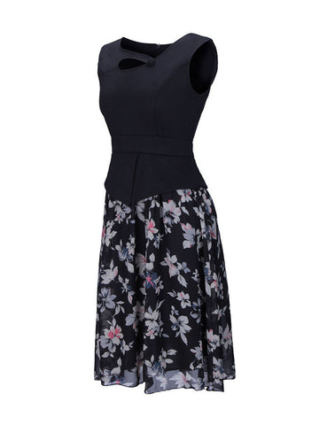 Casual Asymmetric Neck Patchwork Floral Printed Skater Dress