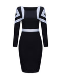 ByChicStyle Square Neck Color Block Bodycon Dress - Bychicstyle.com