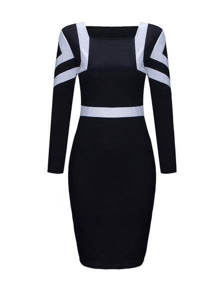 Square Neck Color Block Bodycon Dress - Bychicstyle.com
