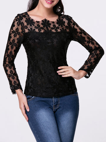 Casual Asymmetric Neck Hollow Out Plain Lace Long Sleeve T-Shirt