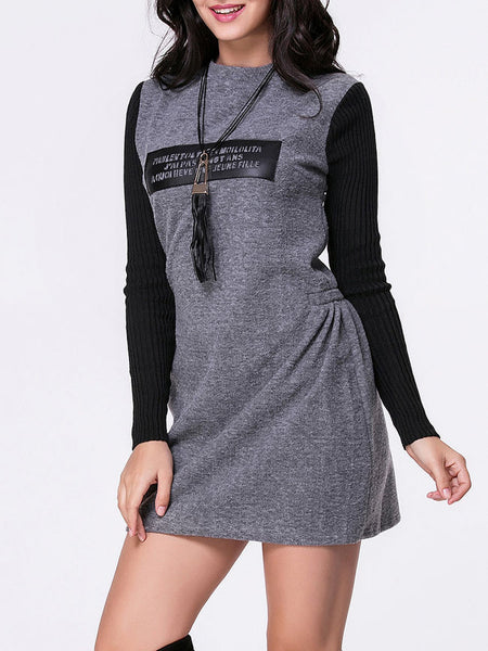 Crew Neck Decorative Patches Shift Dress With Tassel Necklace - Bychicstyle.com