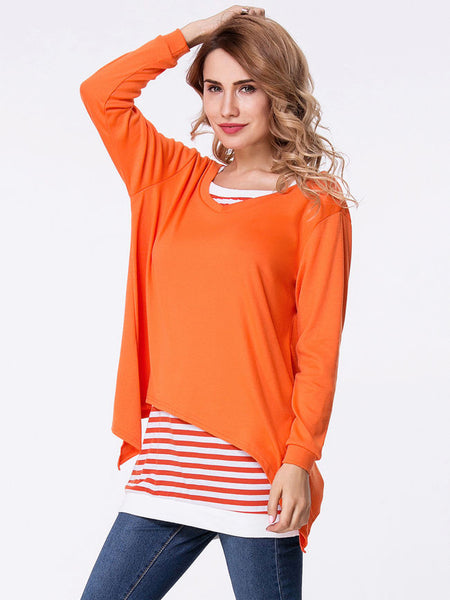 Two-Piece Striped Long Sleeve T-Shirt - Bychicstyle.com