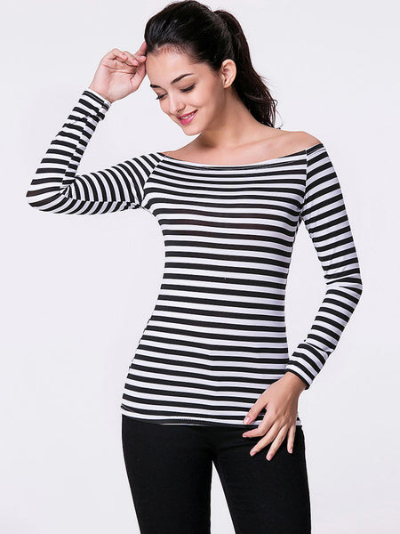 Off Shoulder Striped Long Sleeve T-Shirt - Bychicstyle.com