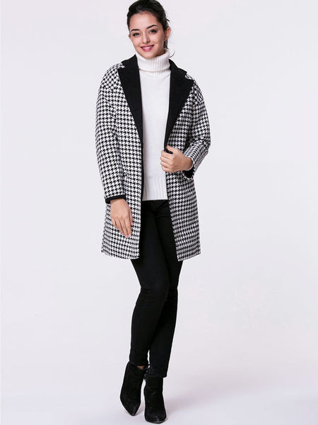 Lapel Single Button Slit Pocket Houndstooth Woolen Coat - Bychicstyle.com
