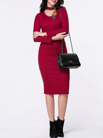 Casual V-Neck Plain Long Sleeve Knitted Dress