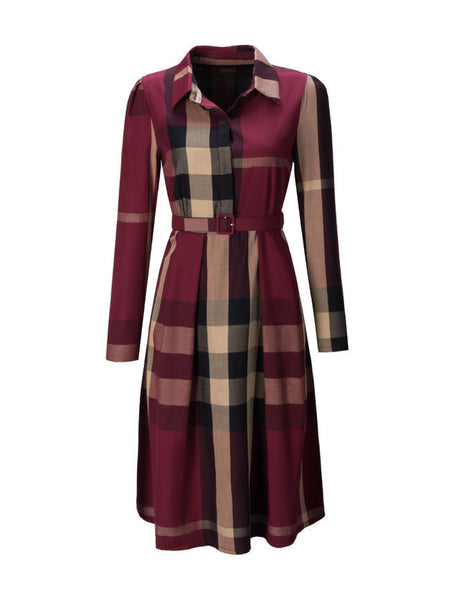 Casual Turn Down Collar Belt Plaid Skater Dress
