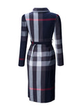 ByChicStyle Casual Turn Down Collar Belt Plaid Skater Dress