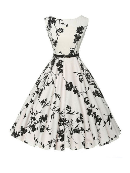 Chic Printed Boat Neck Skater Dress - Bychicstyle.com