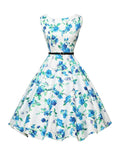 ByChicStyle Classical Boat Neck Floral Printed Swing Dress - Bychicstyle.com