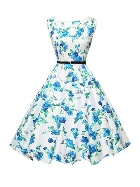 Classical Boat Neck Floral Printed Swing Dress - Bychicstyle.com