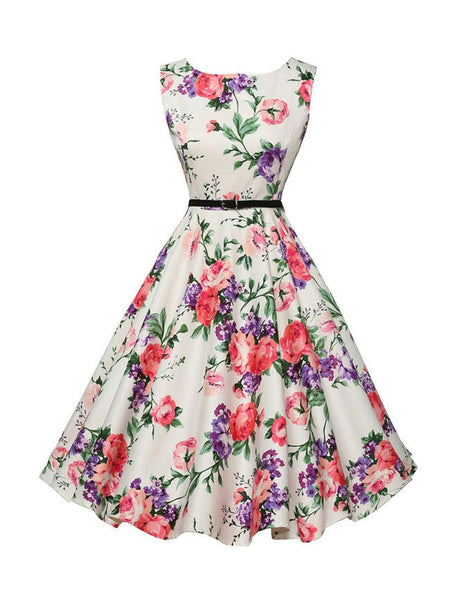 Colorful Floral Printed Boat Neck Skater Dress - Bychicstyle.com