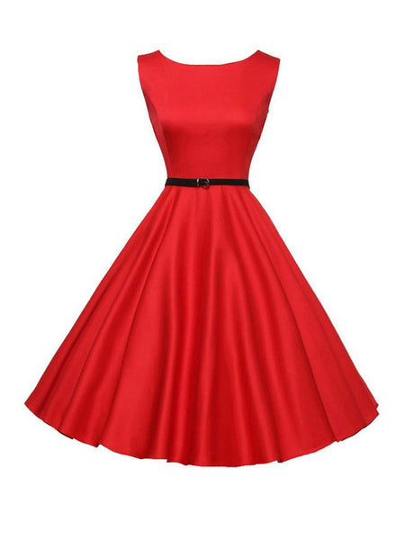 Solid-Color Boat Neck Belt Skater Dress - Bychicstyle.com