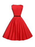 ByChicStyle Solid-Color Boat Neck Belt Skater Dress - Bychicstyle.com