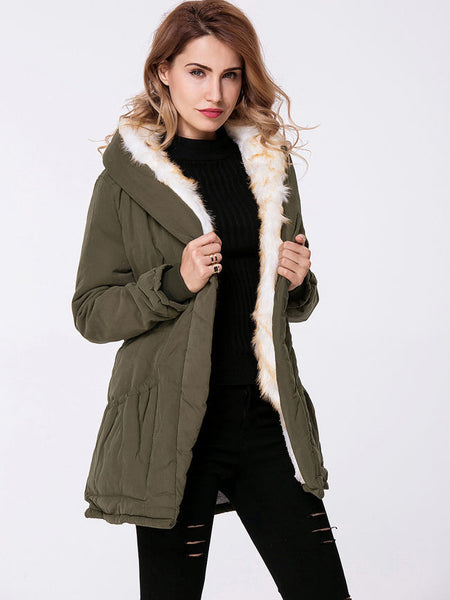 Hooded Drawstring Fleece Lined Padded Coat - Bychicstyle.com