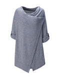ByChicStyle Cowl Neck Asymmetric Hem Plain Roll-Up Sleeve Cardigan - Bychicstyle.com