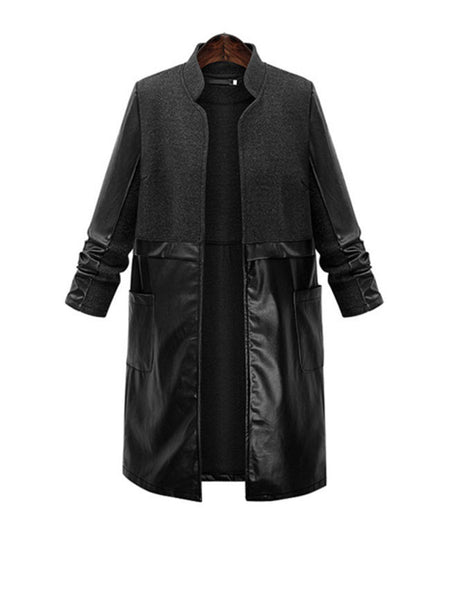 Streetstyle  Casual Band Collar Patchwork Plain Woolen Plus Size Coat