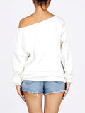 ByChicStyle One Shoulder Birds Printed Sweatshirt - Bychicstyle.com