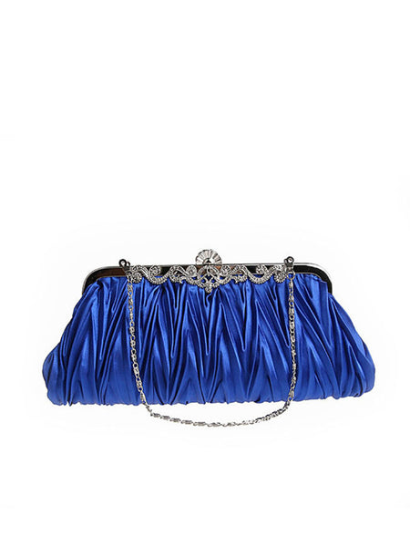 Casual Pleated Diamante Two Way Clutch