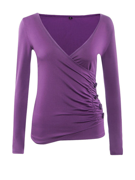 Surplice Pleated Decorative Button Plain Long Sleeve T-Shirt - Bychicstyle.com