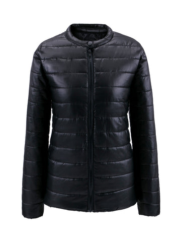 Casual Band Collar Quilted Plain Padded Coat
