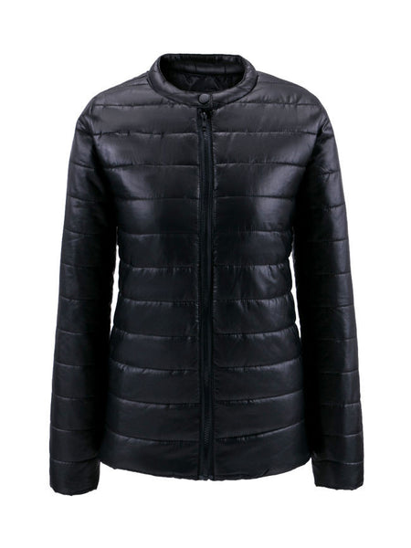 Streetstyle  Casual Band Collar Quilted Plain Padded Coat