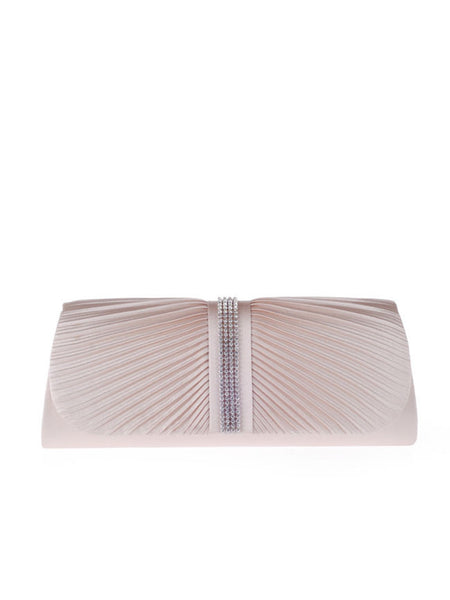 Casual Plain Diamante Pleated Two Way Clutch