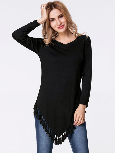 Casual V-Neck Asymmetric Hem Tassel Plain Long Sleeve T-Shirt
