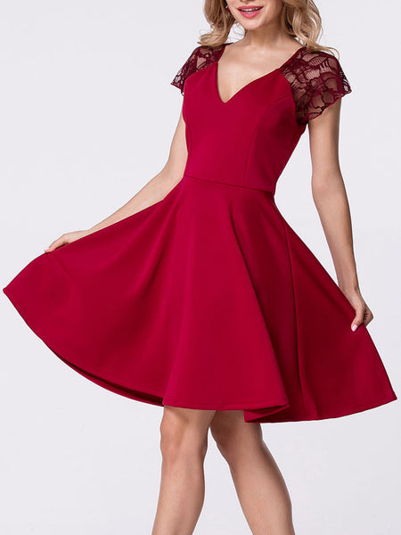 Casual Deep V-Neck Lace Patchwork Plain Skater Dress