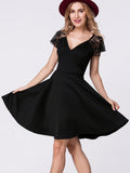 ByChicStyle Casual Deep V-Neck Lace Patchwork Plain Skater Dress
