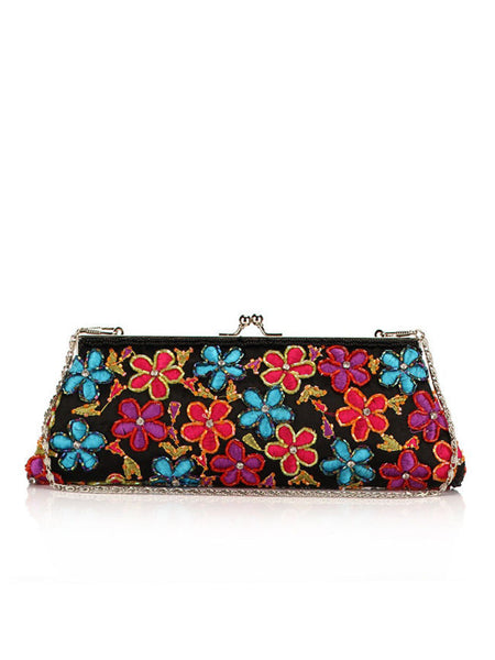 Casual Beading Floral Embroidery Two Way Clutch