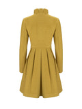 ByChicStyle Casual Band Collar Ruffle Trim Plain Swing Coat
