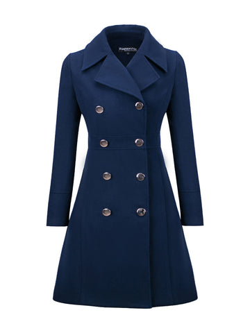 Casual Lapel Double Breasted Plain Woolen Coat - Bychicstyle.com