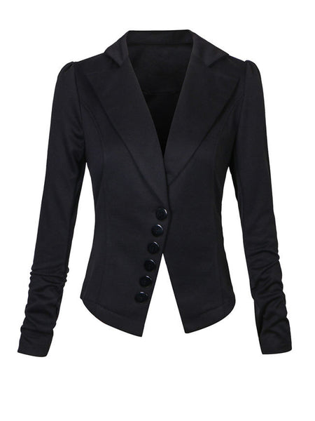Lapel Decorative Button Plain Blazer - Bychicstyle.com