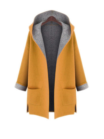 Hooded Patch Pocket Side-Vented Plus Size Coat - Bychicstyle.com