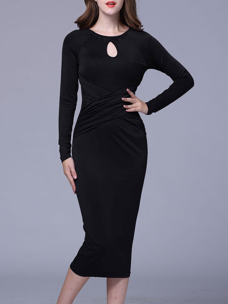 Round Neck Keyhole Plain Bodycon Dress - Bychicstyle.com