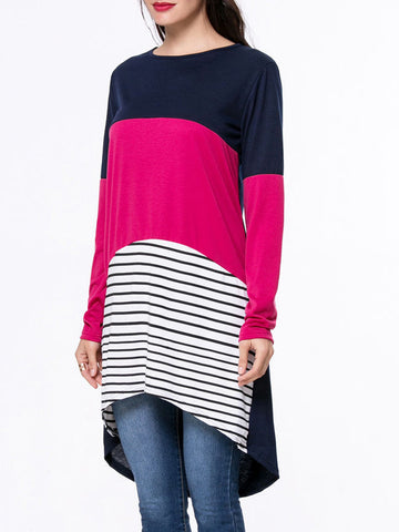 Boat Neck Color Block Striped High-Low Long Sleeve T-Shirt - Bychicstyle.com