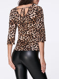 ByChicStyle Round Neck Keyhole Cutout Leopard Printed Long Sleeve T-Shirt - Bychicstyle.com