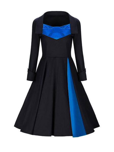 Sweet Heart Bowknot Color Block Skater Dress - Bychicstyle.com