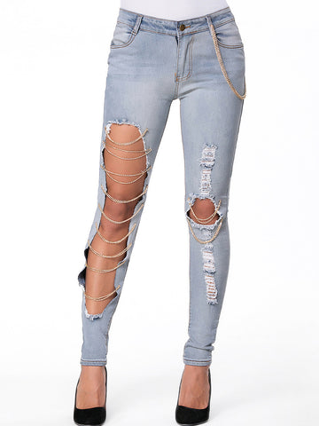 Cutout Chain Ripped Slim-Leg Mid-Rise Jean - Bychicstyle.com