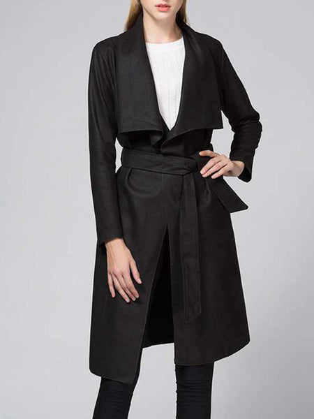 Lapel Removable Tie Plain Woolen Wrap Coat - Bychicstyle.com