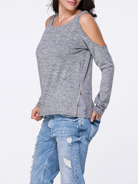 Open Shoulder Zips Plain Long Sleeve T-Shirt - Bychicstyle.com