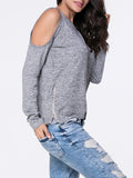 ByChicStyle Open Shoulder Zips Plain Long Sleeve T-Shirt - Bychicstyle.com