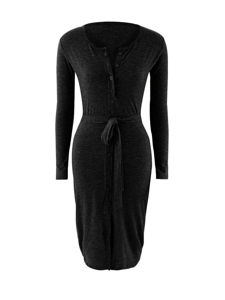 Split Neck Snap Front Removable Tie Plain Bodycon Dress - Bychicstyle.com